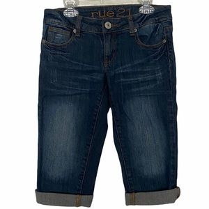 Rue 21 denim bermuda shorts dark wash size 0/1